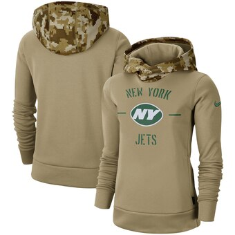 Women's New York Jets Khaki 2019 Salute To Service Therma Pullover Hoodie(Run Small)