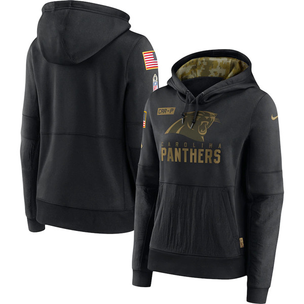 Women's Carolina Panthers 2020 Black Salute To Service Sideline Performance Pullover NFL Hoodie(Run Small)