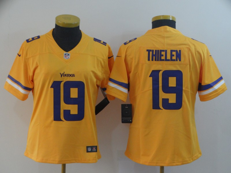 Women's Minnesota Vikings #19 Adam Thielen Gold Inverted Legend Stitched NFL Jersey(Run Small)