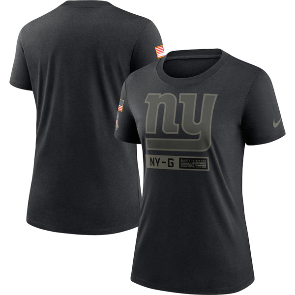 Women's New York Giants 2020 Black Salute To Service Performance NFL T-Shirt (Run Small)