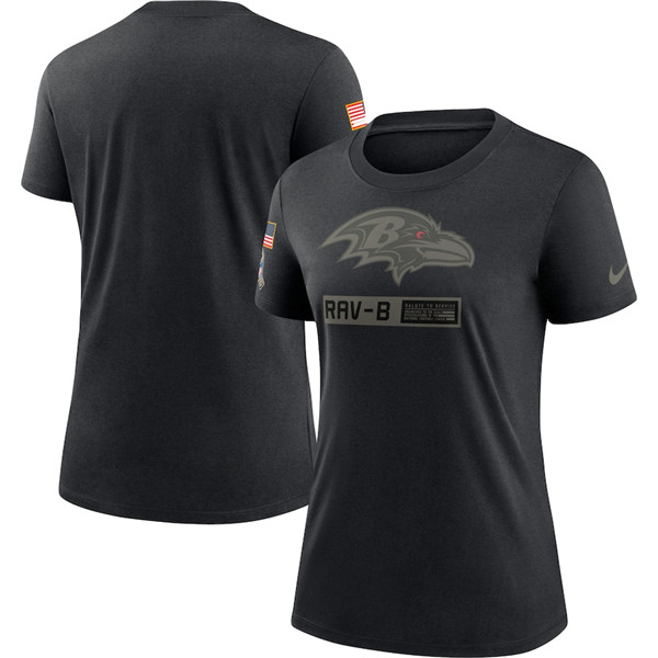 Women's Baltimore Ravens 2020 Black Salute To Service Performance NFL T-Shirt (Run Small)