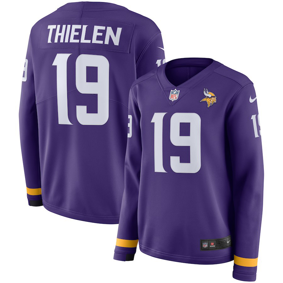 Women's Minnesota Vikings #19 Adam Thielen Purple Therma Long Sleeve Stitched NFL Jersey