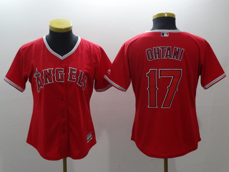 Women's Los Angeles Angels #17 Shohei Ohtani Red Cool Base Stitched MLB Jersey