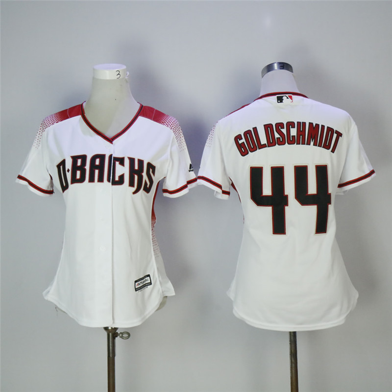 Women's Arizona Diamondbacks #44 Paul Goldschmidt White/Sedona Cool Base Stitched MLB Jersey