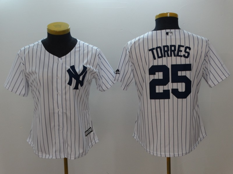 Women's New York Yankees #25 Gleyber Torres White Cool Base Stitched MLB Jersey
