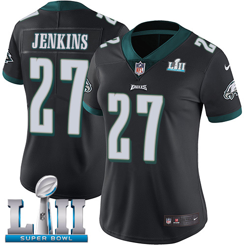 Women's Philadelphia Eagles #27 Malcolm Jenkins Black Super Bowl LII Bound Patch Game Event Stitched NFL Jersey