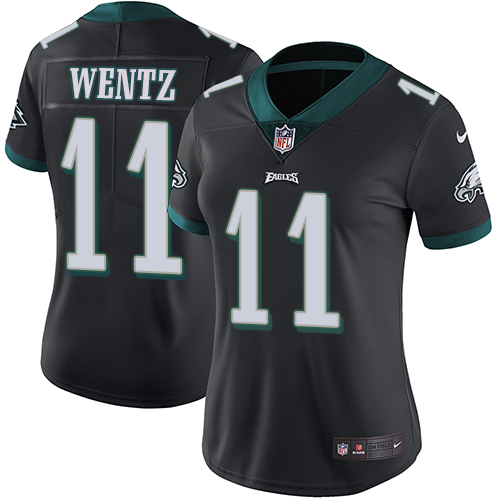 Women's Philadelphia Eagles #11 Carson Wentz Black Super Bowl LII Bound Game Stitched NFL Jersey
