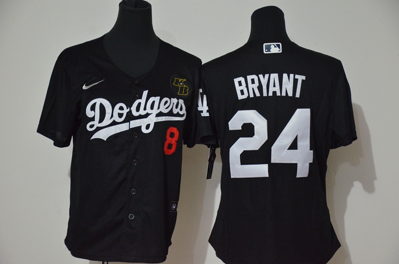 Women's Los Angeles Dodgers Front #8 Back #24 Kobe Bryant Black Cool Base Stitched MLB Jersey(Run Small)
