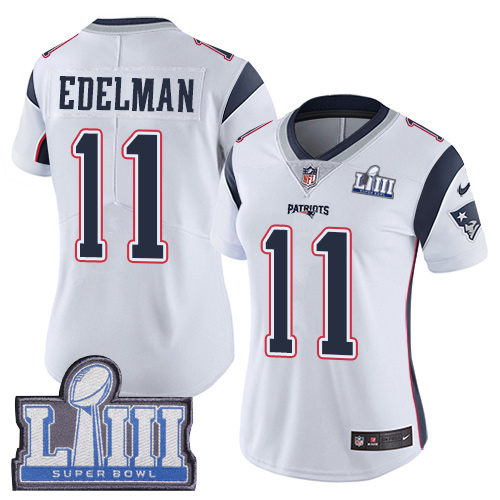 Women's New England Patriots #11 Julian Edelman White Super Bowl LIII Vapor Untouchable Limited Stitched NFL Jersey ( Run Small )