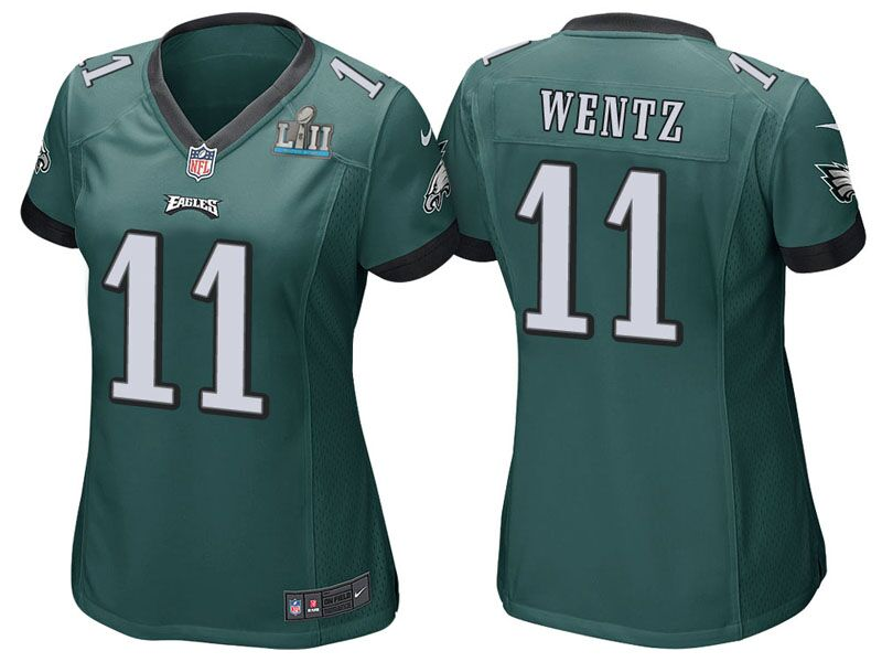 Women's Philadelphia Eagles #11 Carson Wentz Green Super Bowl LII Bound Patch Game Event Stitched NFL Jersey
