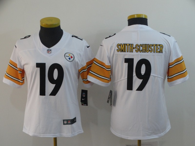 Women's Pittsburgh Steelers #19 JuJu Smith-Schuster White Vapor Untouchable Limited Stitched NFL Jersey