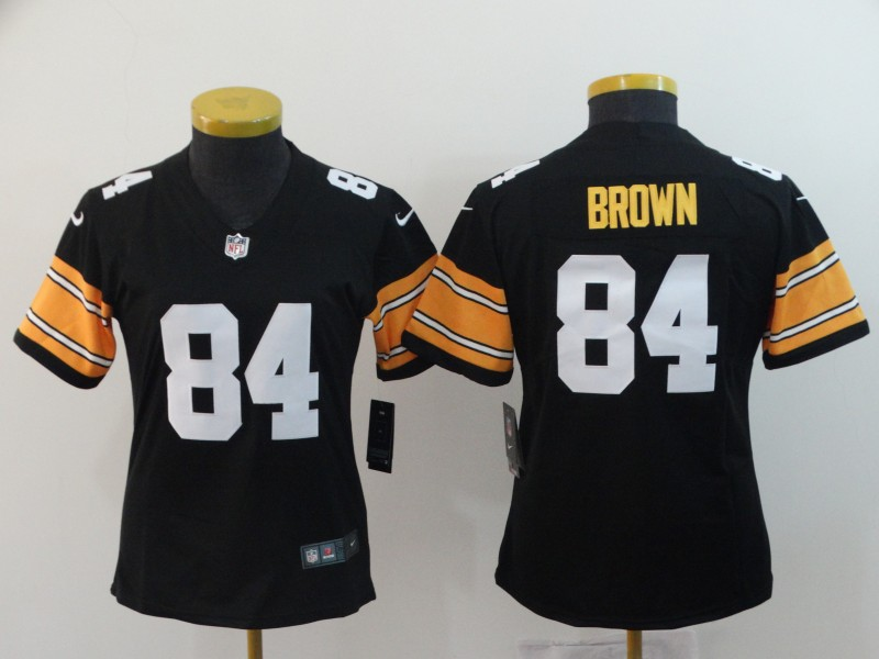 Women's NFL Pittsburgh Steelers #84 Antonio Brown Black Vapor Untouchable Limited Stitched Jersey