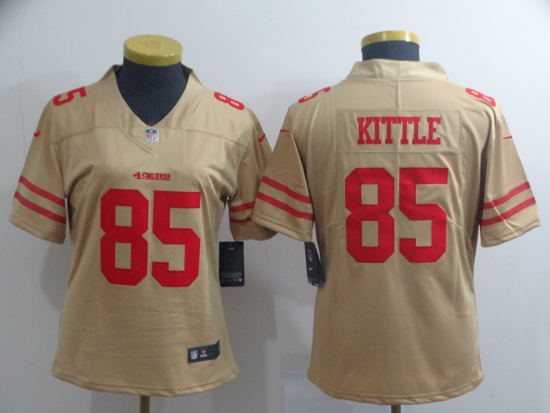 Women's NFL San Francisco 49ers #85 George Kittle 2019 Gold Inverted Legend Stitched NFL Jersey(Runs Small)