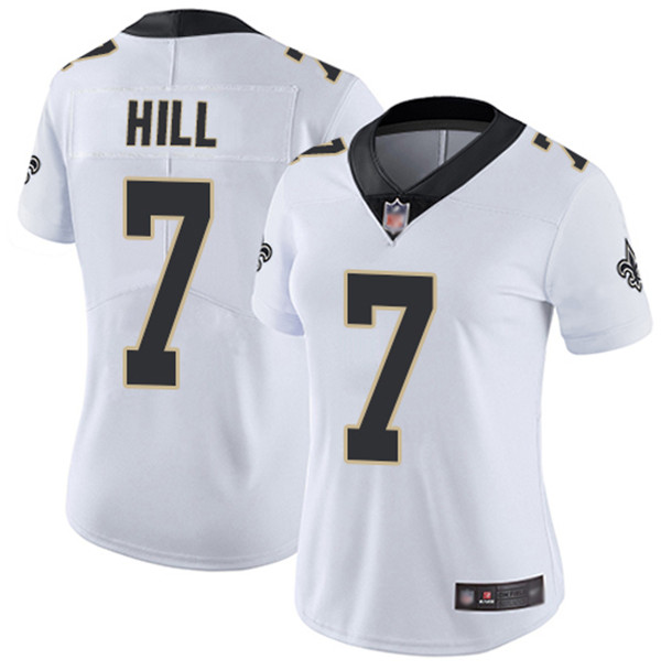 Women's New Orleans Saints #7 Taysom Hill 2020 White Vapor Untouchable Limited Stitched Jersey(Run Small)