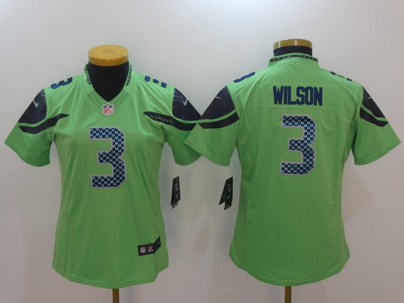 Women's Seattle Seahawks #3 Russell Wilson Green Vapor Untouchable Limited Stitched NFL Jersey