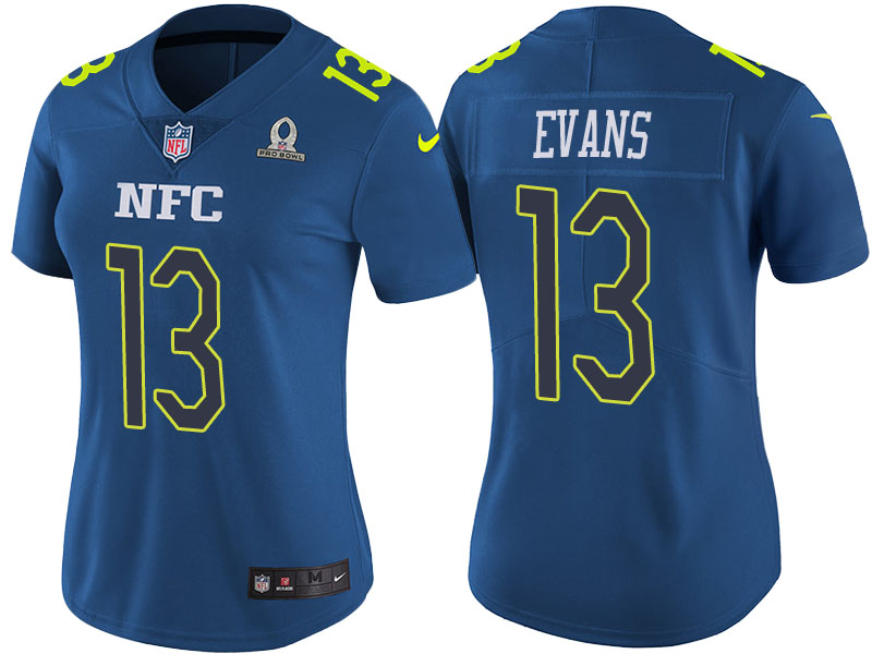 Women's Tampa Bay Buccaneers #13 Mike Evans Blue Pro Bowl Stitched NFL Jersey(Run Small)