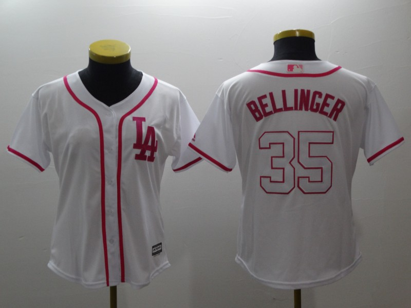Women's Los Angeles Dodgers #35 Cody Bellinger White Pink Cool Base Stitched MLB Jersey