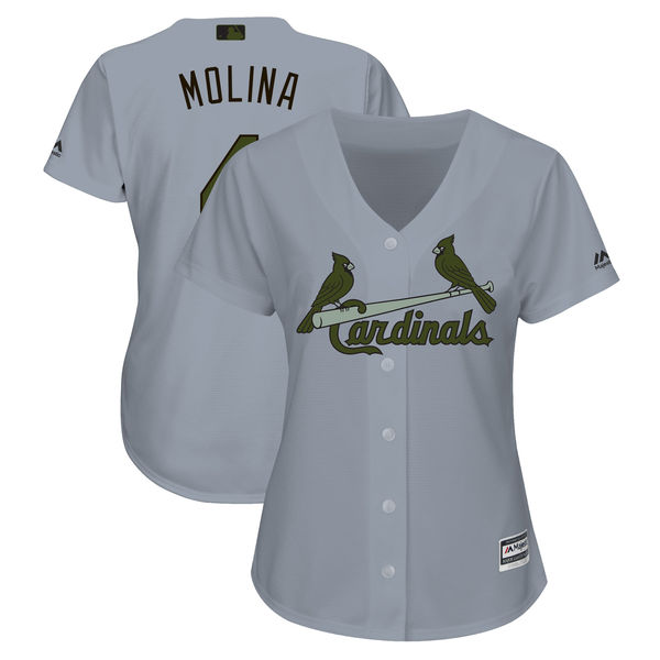 Women's St.Louis Cardinals #4 Yadier Molina Gray Women 2018 Memorial Day Cool Base Stitched MLB Jersey