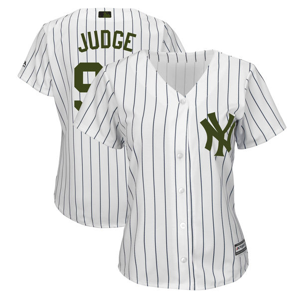 Women's New York Yankees #99 Aaron Judge White 2018 Memorial Day Cool Base Stitched MLB Jersey