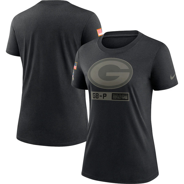 Women's Green Bay Packers 2020 Black Salute To Service Performance NFL T-Shirt (Run Small)