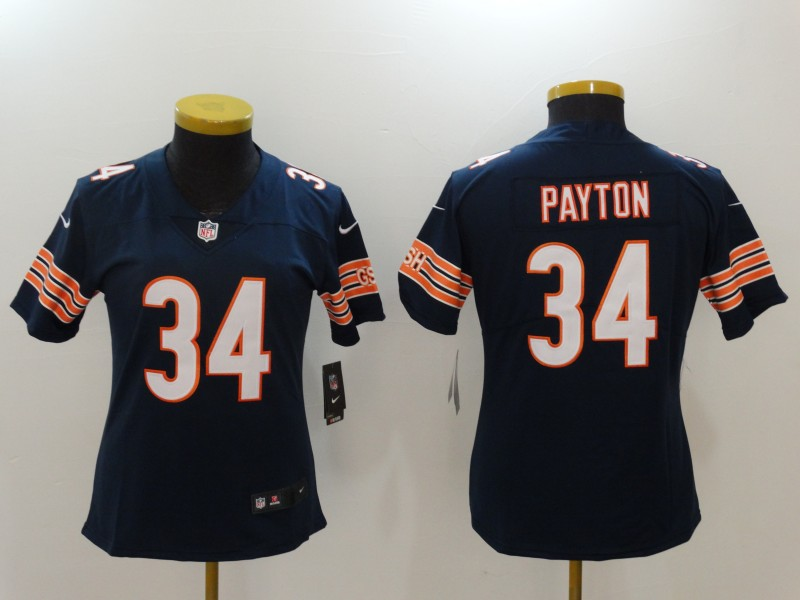 Women's Chicago Bears #34 Walter Payton Navy Blue Vapor Untouchable Elite Stitched NFL Jersey