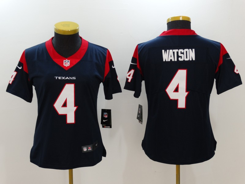 Women's Houston Texans #4 Deshaun Watson Navy Blue Team Color Vapor Untouchable Limited Stitched NFL Jersey