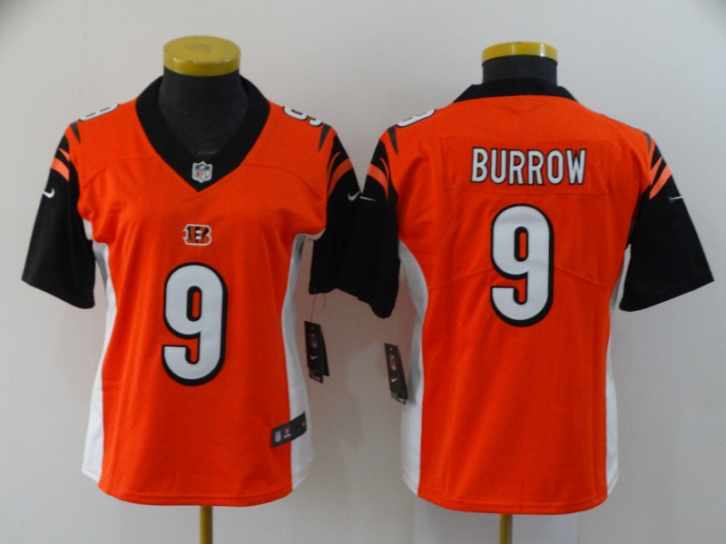 Women's Cincinnati Bengals #9 Joe Burrow Orange Vapor Stitched Jersey(Run Small)