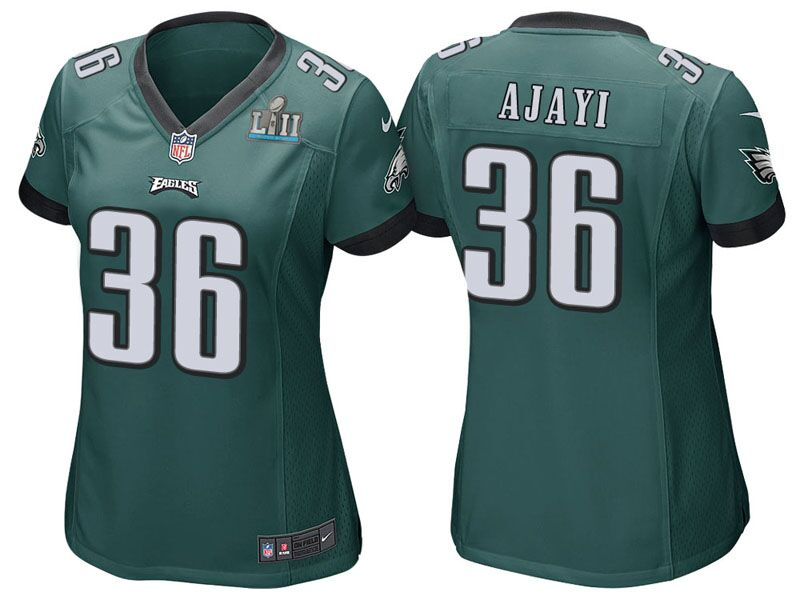 Women's Philadelphia Eagles # 36 Jay Ajayi Green Super Bowl LII Bound Patch Game Event Stitched NFL Jersey