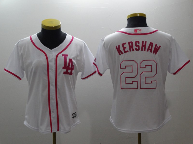 Women's Los Angeles Dodgers #22 Clayton Kershaw White Pink Cool Base Stitched MLB Jersey