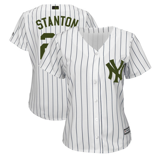 Women's New York Yankees #27 Giancarlo Stanton White 2018 Memorial Day Cool Base Stitched MLB Jersey