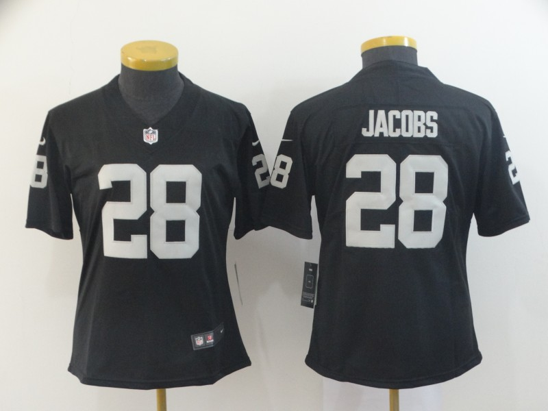 Women's Oakland Raiders #28 Josh Jacobs Black Vapor Untouchable Limited Stitched NFL Jersey(Run Small)