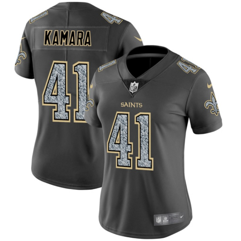 Women's New Orleans Saints #41 Alvin Kamara 2019 Gray Fashion Static Limited Stitched NFL Jersey(Run Small)