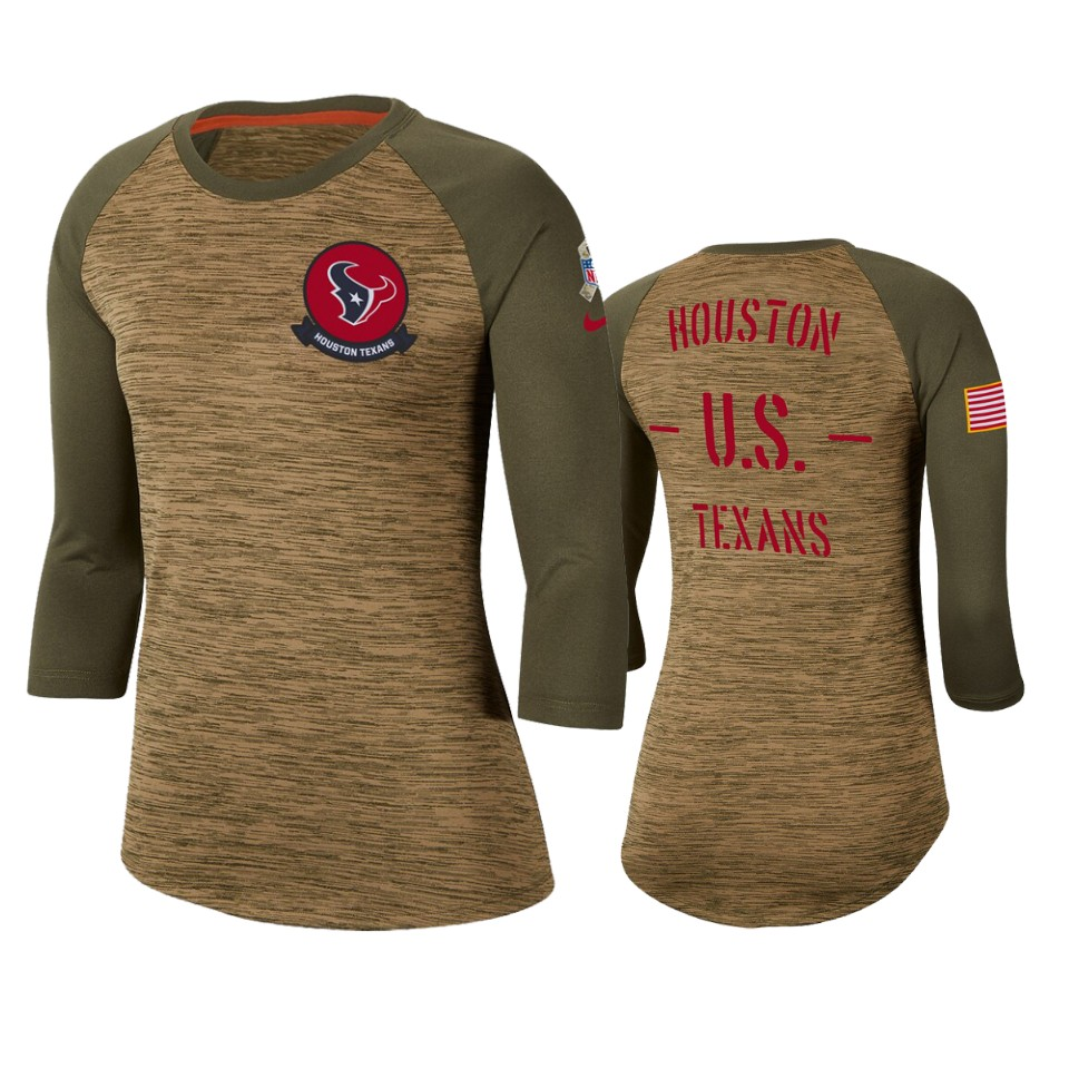 Women's Houston Texans Khaki 2019 Salute To Service Legend Scoopneck Raglan 3/4 Sleeve T-Shirt(Run Small)