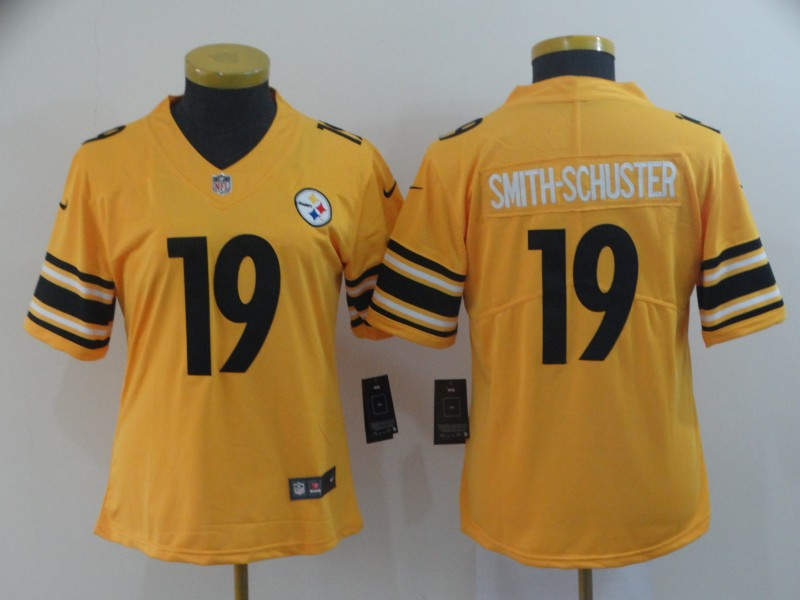 Women's Pittsburgh Steelers #19 JuJu Smith-Schuster Gold Inverted Legend Stitched NFL Jersey(Run Small)