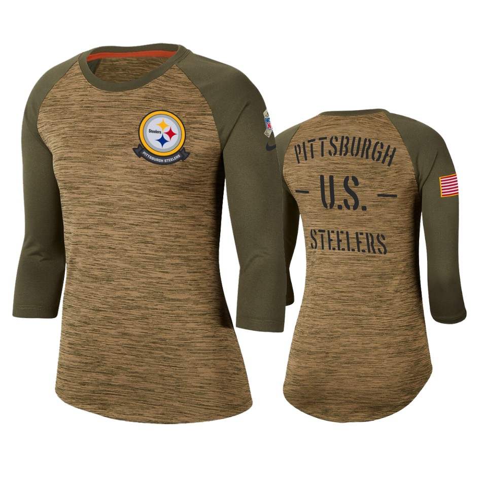 Women's Pittsburgh Steelers Khaki 2019 Salute To Service Legend Scoopneck Raglan 3/4 Sleeve T-Shirt(Run Small)