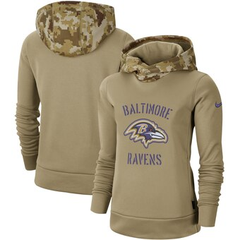 Women's Baltimore Ravens Khaki 2019 Salute To Service Therma Pullover Hoodie(Run Small)
