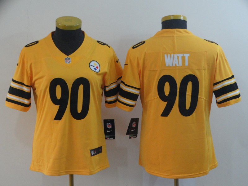 Women's Pittsburgh Steelers #90 T. J. Watt Gold Inverted Legend Stitched NFL Jersey(Run Small)