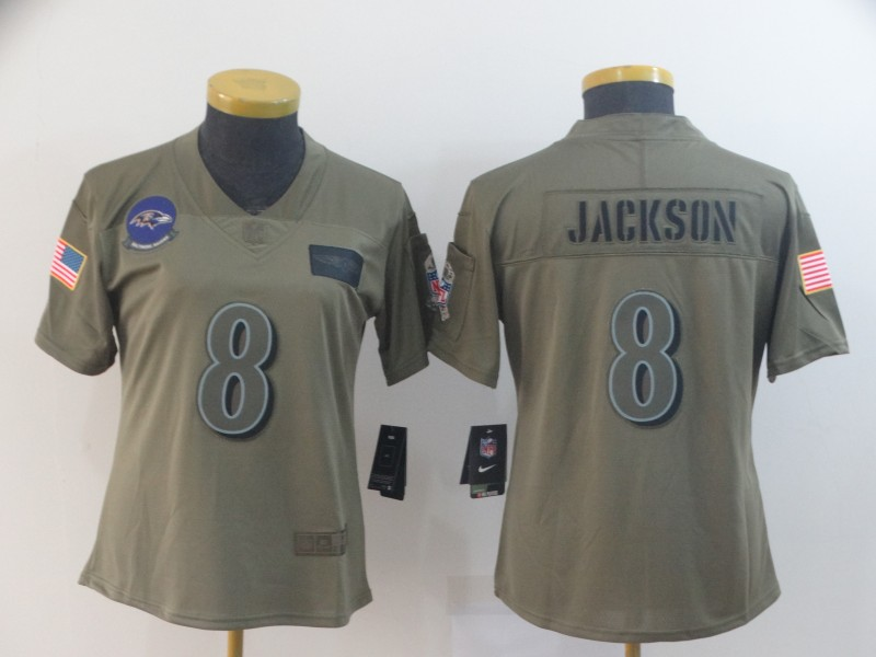 Women's Baltimore Ravens #8 Lamar Jackson 2019 Camo Salute To Service Limited Stitched NFL Jersey(Run Small)