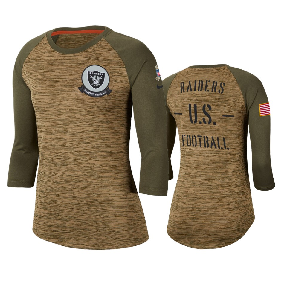 Women's Oakland Raiders Khaki 2019 Salute To Service Legend Scoopneck Raglan 3/4 Sleeve T-Shirt(Run Small)