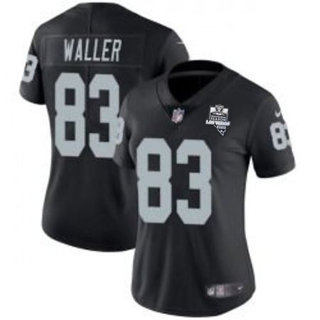Women's Las Vegas Raiders White #83 Darren Waller Black 2020 Inaugural Season Vapor Untouchable Limited Stitched Jersey(Run Small)