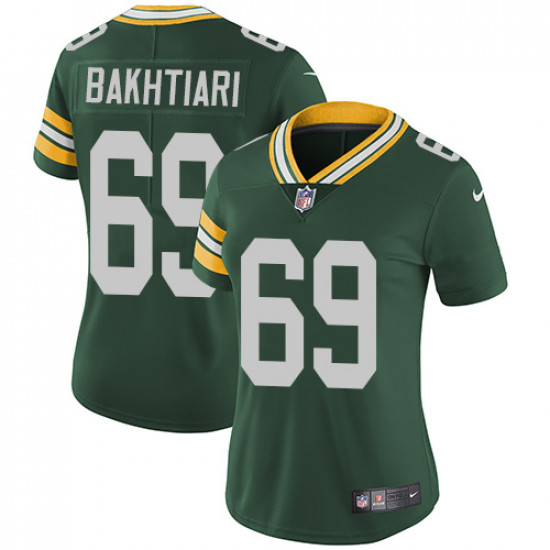 Women's Green Bay Packers #69 David Bakhtiari Green Vapor Untouchable Limited Stitched NFL Jersey(Run Small)