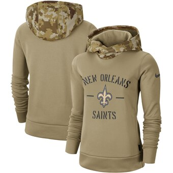 Women's New Orleans Saints Khaki 2019 Salute To Service Therma Pullover Hoodie(Run Small)
