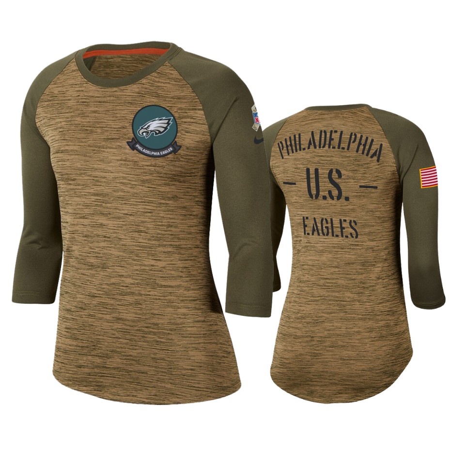 Women's Philadelphia Eagles Khaki 2019 Salute To Service Legend Scoopneck Raglan 3/4 Sleeve T-Shirt(Run Small)