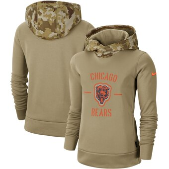 Women's Chicago Bears Khaki 2019 Salute To Service Therma Pullover Hoodie(Run Small)