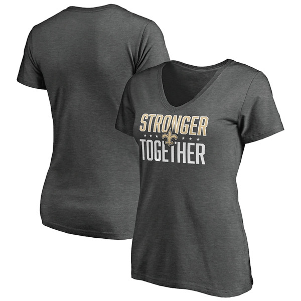 Women's New Orleans Saints Heather Stronger Together Space Dye V-Neck T-Shirt(Run Small)