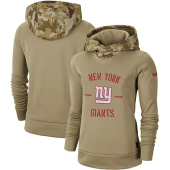 Women's New York Giants Khaki 2019 Salute To Service Therma Pullover Hoodie(Run Small)