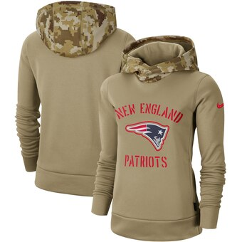 Women's New England Patriots Khaki 2019 Salute To Service Therma Pullover Hoodie(Run Small)