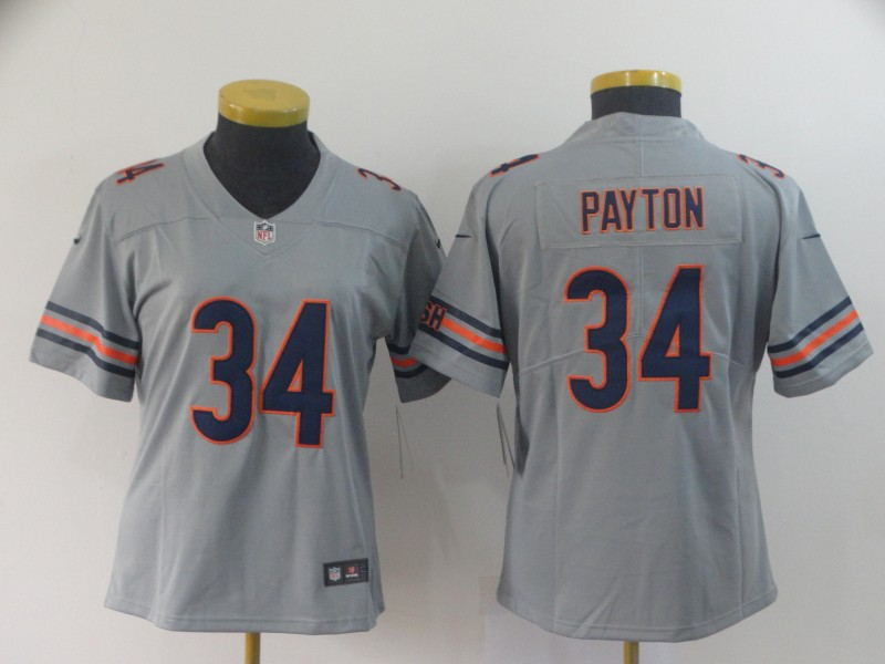 Women's Chicago Bears #34 Walter Payton 2019 Silver Inverted Legend Stitched NFL Jersey(Runs Small)