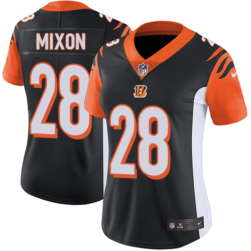 Women's Cincinnati Bengals #28 Joe Mixon Black Team Color Stitched NFL Vapor Untouchable Limited Jersey
