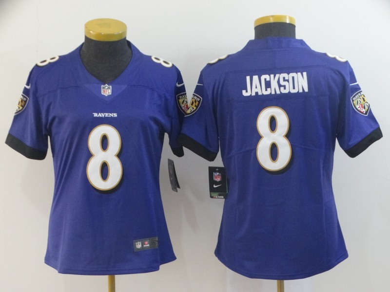 Women's Baltimore Ravens #8 Lamar Jackson Purple Vapor Untouchable Limited NFL Jersey